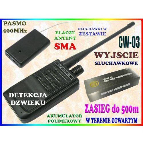 MINI PODSŁUCH RADIOWY AKTYWACJA GŁOSEM VOX CW-03 400MHz TRANSMITER PLUSKWA Z BEZPRZEWODOWYM MIKROFONEM do 500m (podsłuch szpiegowski)