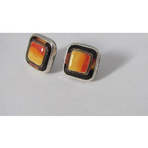 Kolczyki ceramika w srebrze kolory słoneczne od DaWanda