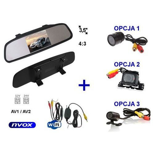 """Nvox Zestaw monitor lcd 3,5"""" w lusterku wstecznym 12v 24v samochodowa kamera cofania i bezprzewodowy moduł wifi (5909182421724)"""