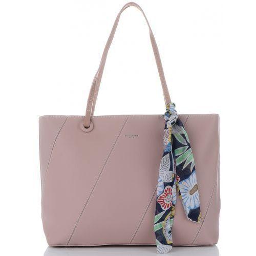 2d053bafd6865 firmowe torebki damskie w rozmiarze xl na każdą okazję z organizerem i modną  apaszką pudrowy róż (kolory) marki David jones 139