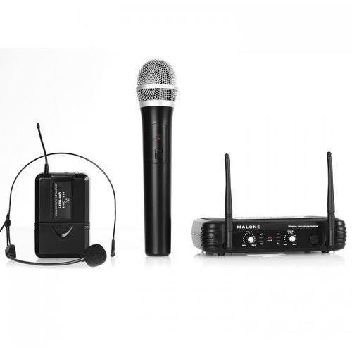 Malone Uhf-250 duo 2-kan. zestaw mikrofonów bezprzew. uhf