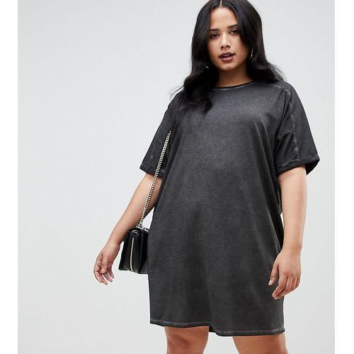 Asos design curve t-shirt dress with rolled sleeves and wash - black, Asos curve