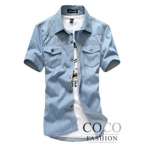 Jeansowa Koszula z Krótkim Rękawem z Kontrastowymi Przeszyciami Dostępna w 2 Kolorach - sprawdź w Coco Fashion
