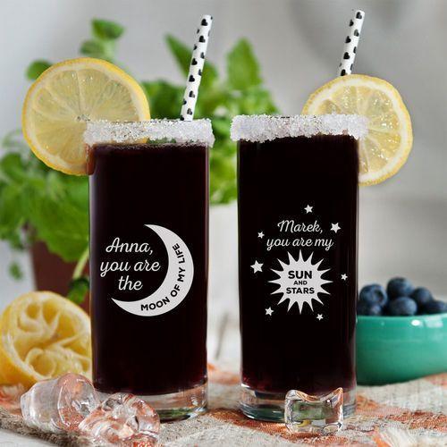 Moon & sun and stars - dwie grawerowane szklanki - szklanka marki Mygiftdna