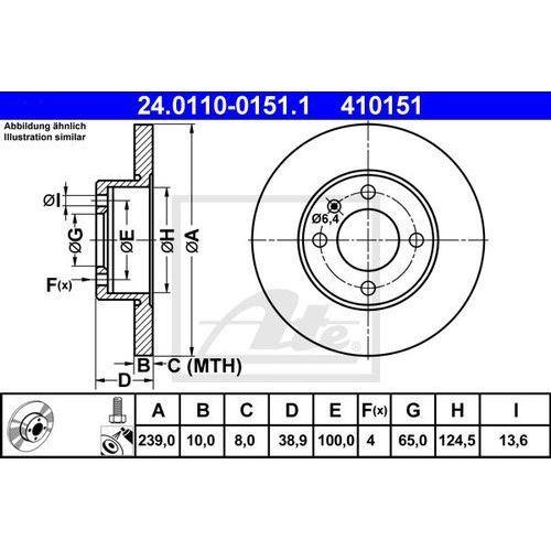 Ate Tarcza ham 24.0110-0151.1 seat ibiza ii 1.0, 1.4i 93-99, ibiza iii 1.4 99-02/ vw polo 1.0 85-92, 1.1 81-89