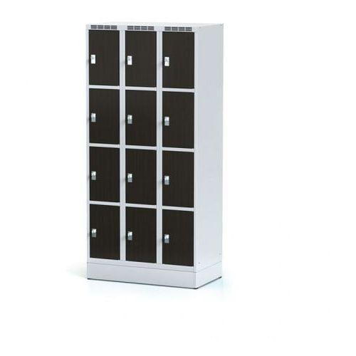 Alfa 3 Szafka ubraniowa 12 drzwi 300x300 mm na cokole, drzwi lpw, wenge, zamek obrotowy