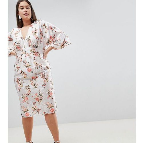 Asos curve Asos design curve kimono midi dress in printed floral jacquard - multi