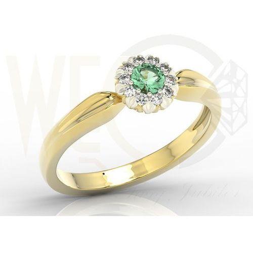 Węc - twój jubiler Pierścionek z żółtego i białego złota ap-42zb ze szmaragdem i diamentami
