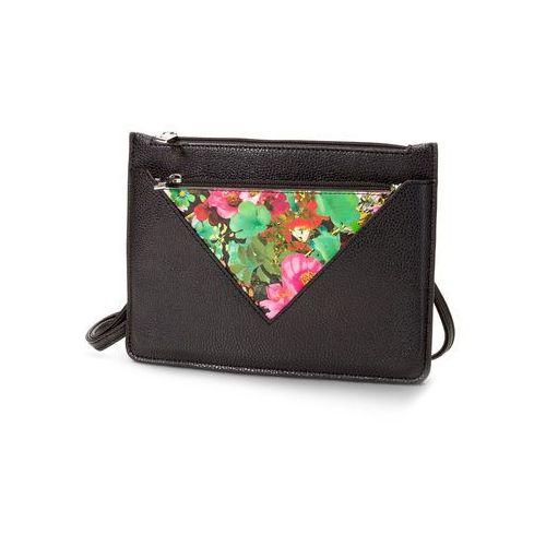 Bonprix Mała torebka na ramię z kieszenią z kwiatowym nadrukiem  czarno-kolorowy