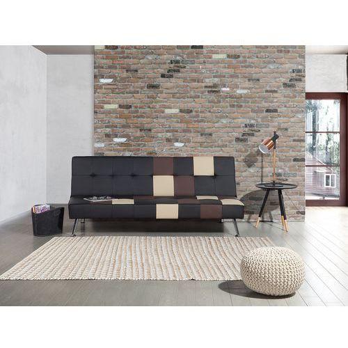 Sofa czarna - rozkładana - patchwork - wersalka - ekoskóra - OLSKER (7081455339160)