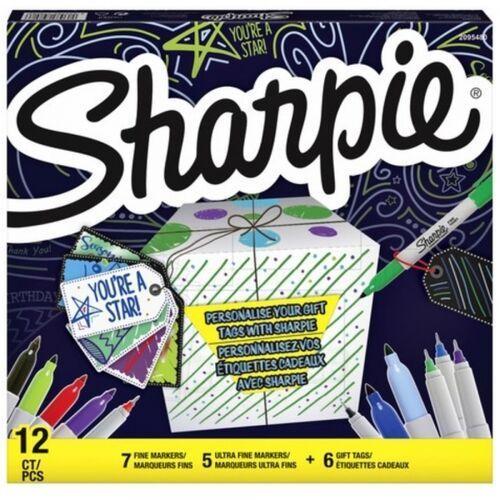 Marker sharpie fine - zestaw 12 kolorów + 6 przywieszek do prezentów (shp-2079808) marki Paper mate