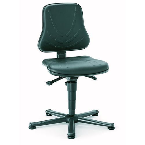 Obrotowe krzesło do pracy, siedzisko z obiciem z imitacji skóry, na ślizgaczach, marki Bimos