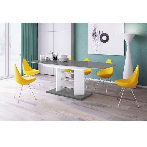 Stół rozkładany w wysokim połysku Linosa 3 szaro-biały