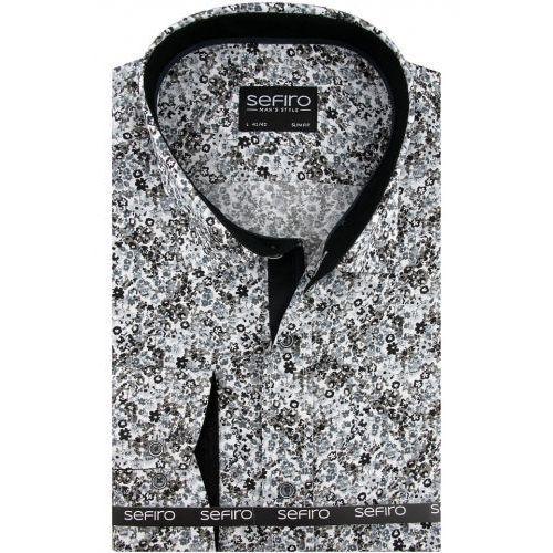 Koszula męska szara w kwiatki slim fit na spinki lub guzik a098, Sefiro
