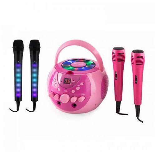 singsing zestaw do karaoke różowy + kara dazzl zestaw mikrofonów led marki Auna
