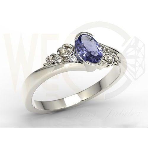 Pierścionek zaręczynowy z białego złota ap-39b z tanzanitem i diamentami 0,03 ct marki Węc - twój jubiler