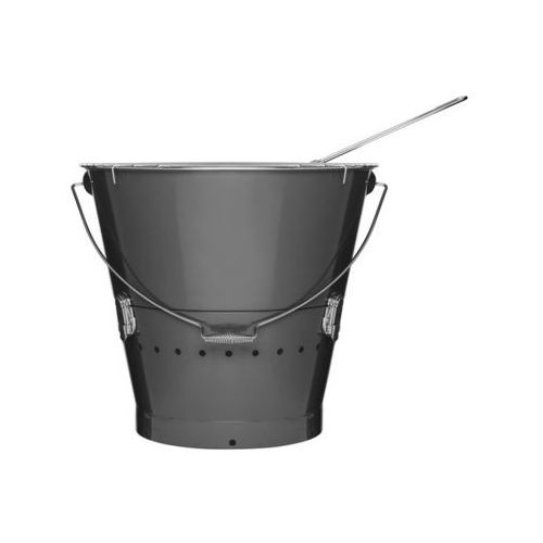 Duży grill w kształcie wiaderka - szary - oferta [0538ec0a31a2e553]
