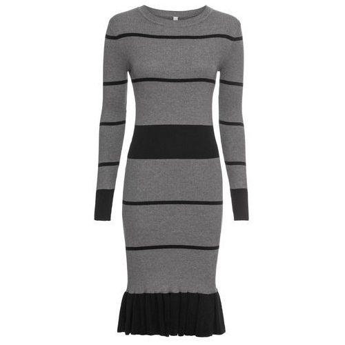 fcad2a18eb9145 Sukienka dzianinowa z falbaną bonprix szaro-czarny w paski 149,99 zł  Sukienka gwarantująca Ci atrakcyjny, damski wygląd w chłodne dni.