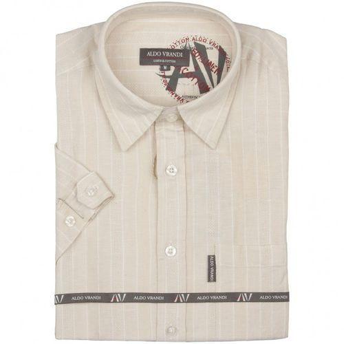 Lniana koszula męska z krótkim rękawem Aldo Vrandi, ALkr10-03