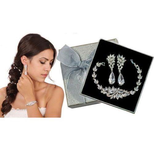 Kpl862 komplet ślubny, biżuteria ślubna z cyrkoniami k805/1 b655/31