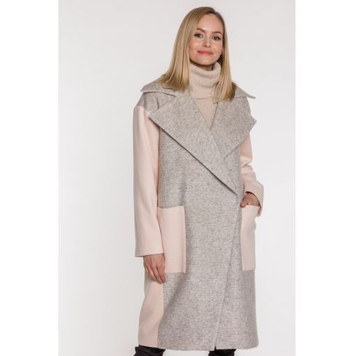 Wełniany płaszcz z kołnierzem - Firemove, kolor różowy