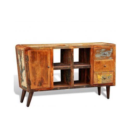 Drewniana półka z szafką 4 półeczkami oraz 3 szufladami, vidaXL z VidaXL