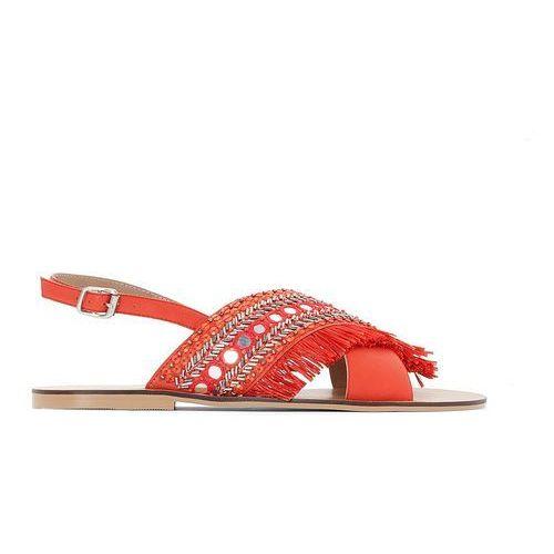 Skórzane sandały z koralikami, szeroka stopa 38-45