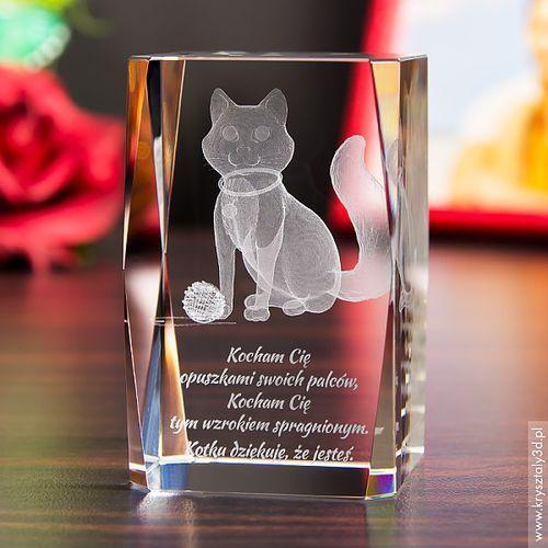 Kotek Kłębuszek 3D • personalizowany kryształ 3D średni • GRAWER 3D