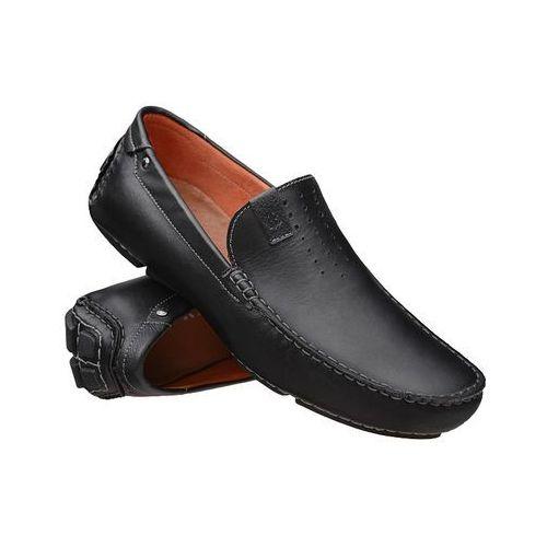 Mokasyny 3153-698 czarne męskie wsuwane - czarny marki Badura