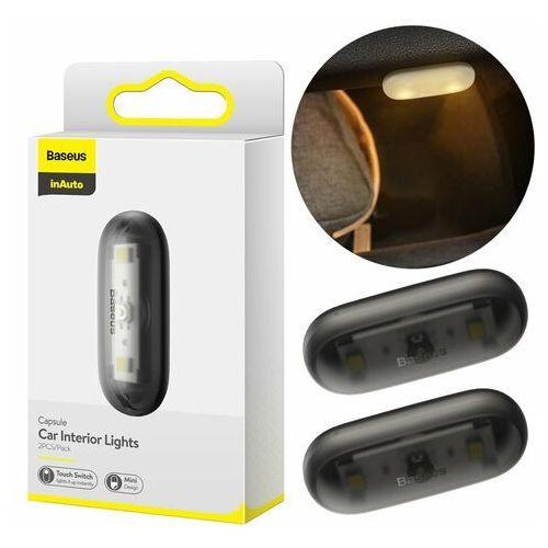 2x samoprzylepna lampka lampa led samochodowa czarny (dgxw-01) - czarny marki Baseus