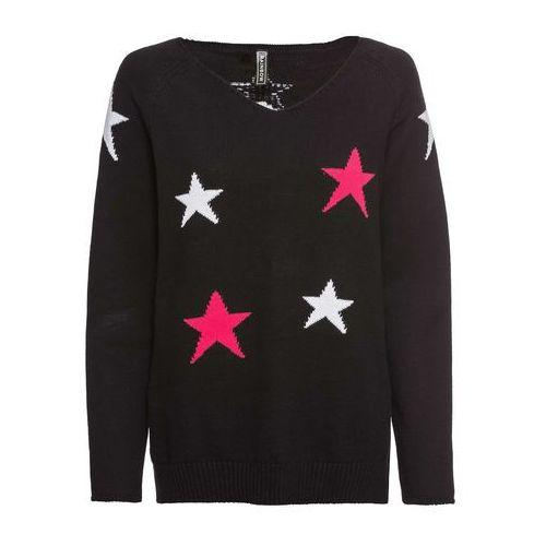 c9ee4bdd28 Sweter dzianinowy w gwiazdy bonprix czarny