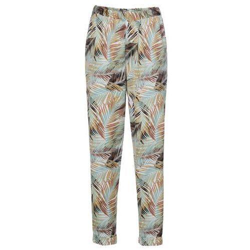 393d43ff3ac145 Spodnie bez zamka w talii brązowo-zielony z nadrukiem marki Bonprix 89,99  zł Lekkie spodnie z gumką w talii, bez zapięcia na zamek, z bocznymi  kieszeniami.