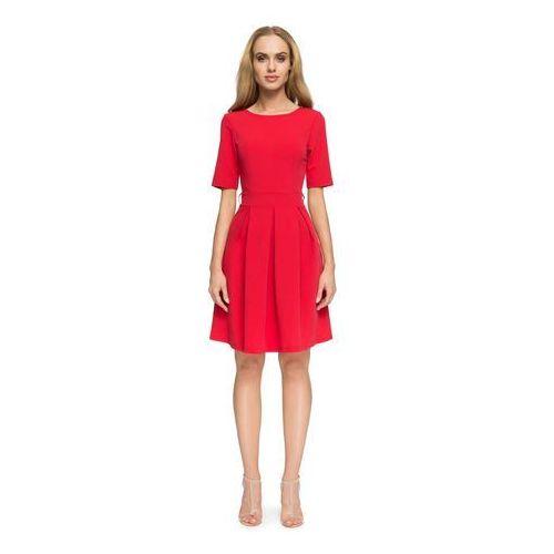 0911d7470e Czerwona Wizytowa Sukienka z Dołem w Kontrafałdy