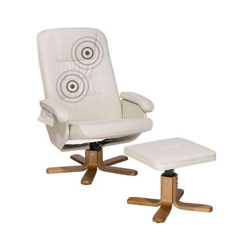 Beliani Fotel beżowy skóra ekologiczna funkcja masażu z podnóżkiem relaxpro