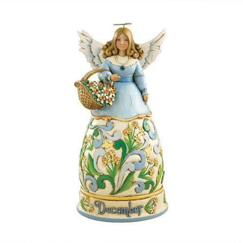 Jim shore Anioł grudzień heartwood creek monthly angel figurine december 4012561 , pamiątka narodzin, chrztu figurka dewocjonalia