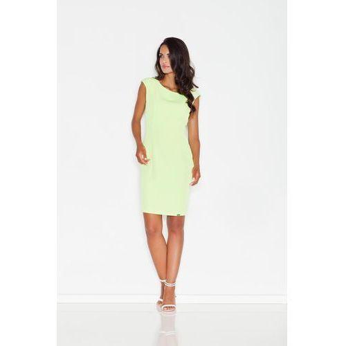Zielona prosta sukienka midi z przeszyciami marki Figl
