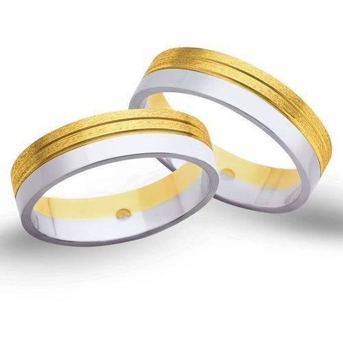 Obrączki ślubne z żółtego i białego złota 5mm - O2K/049 z kategorii Obrączki ślubne