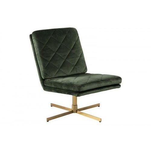 Fotel obrotowy CARRERA ciemny zielony - welur, złota podstawa ACTONA, CARRERA ciemny zielony