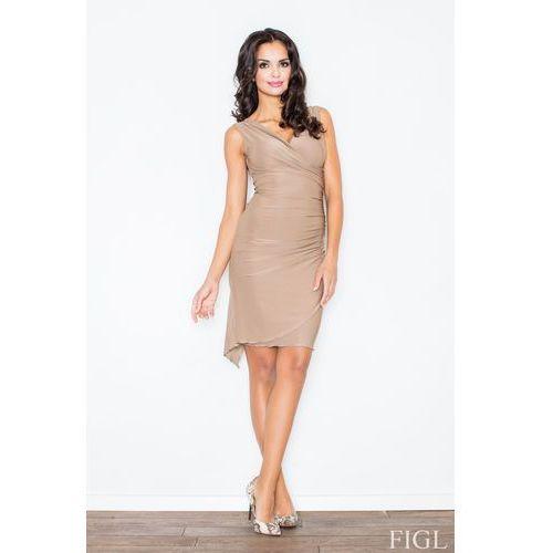 Figl Beżowa asymetryczna sukienka modnie marszczona