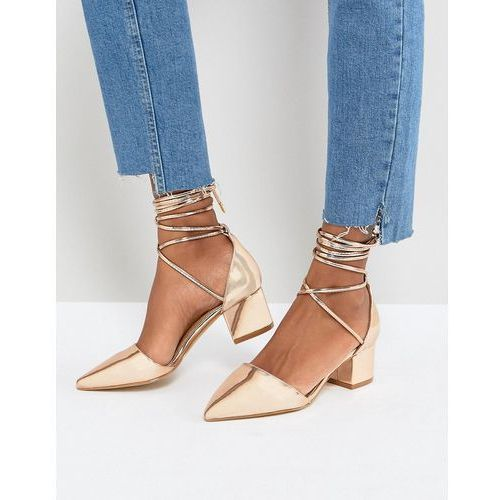 lucky rose gold ankle tie block heeled shoes - gold, Raid
