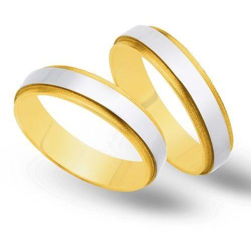 Obrączki ślubne z żółtego i białego złota 5mm - O2K/048