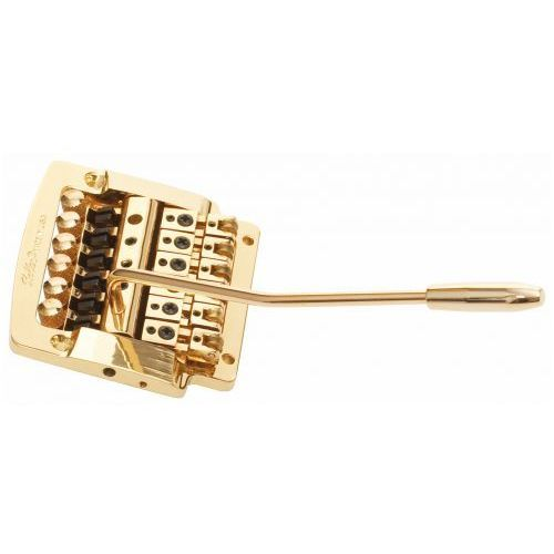 2310 - flat mount guitar tremolo, steel cam, brass saddles - złoty mostek do gitary marki Kahler