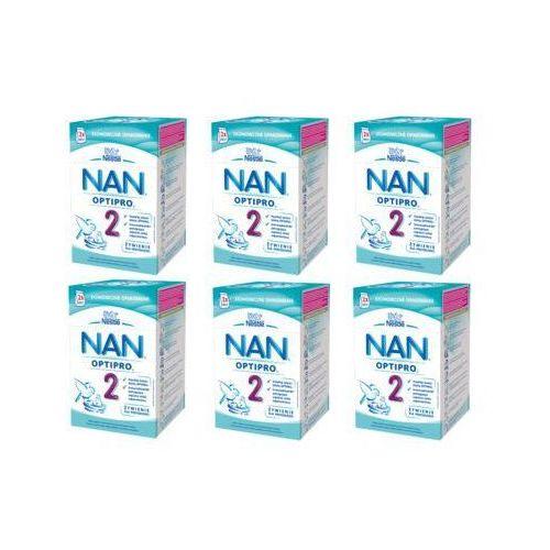 Zestaw 6x NESTLE NAN OPTIPRO 2 800g (2x400g) Mleko następne w proszku dla dzieci od 6 miesiąca, karton