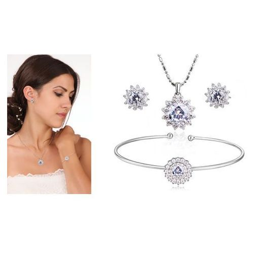 Kpl888 komplet ślubny, biżuteria ślubna z cyrkoniami b599/656 k579/579 marki Mak-biżuteria