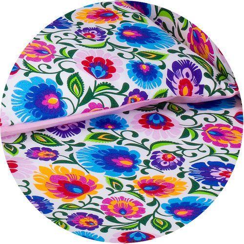 MAMO-TATO dwustronna pościel 2-el Łowicz / róż do łóżeczka 60x120cm, kolor różowy
