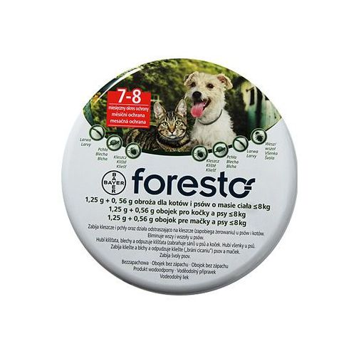 Bayer Foresto obroża przeciw pchłom i kleszczom dla kotów i małych psów do 8kg 38cm (pielęgnacja psów)