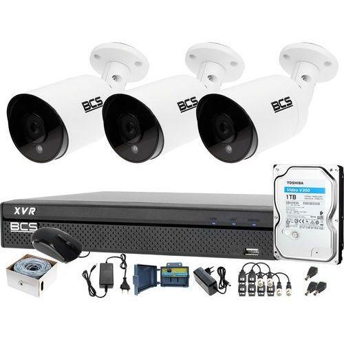 3x kamera po skrętce BCS-TQE4200IR3-B Rejestrator BCS-XVR0401-IV Dysk 1TB Monitoring, ZM13276