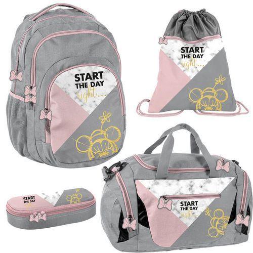 Paso Zestaw szkolny plecak + akcesoria 4w1 myszka minnie różowo-szary