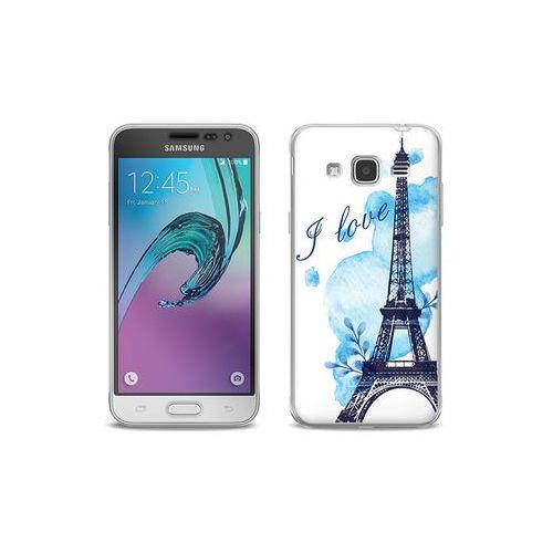 etuo Full Body Slim Fantastic - Samsung Galaxy J3 (2016) - etui na telefon Full Body Slim Fantastic - niebieska wieża eiffla