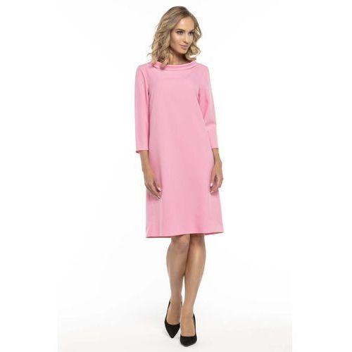62e2a7006d Trapezowa Różowa Sukienka z Kołnierzykiem JACKIE KENNEDY